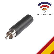 ACTECOM® ADAPTADOR JACK 6,3mm A RCA MONO MACHO AUDIO CONECTOR 6.3