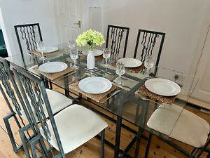Wrought Iron & Glass Dining Table with 6 Chairs