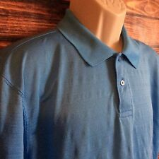 Men's HAGGAR Short Sleeve Blue Golf Polo Shirt Size Large