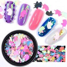 1 Box Unicorn Nail Art Sequins Rainbow Stickers 3d Colorful Manicure DIY Decor