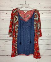 Umgee USA Boutique Women's M Medium Red Navy Boho 3/4 Sleeves Spring Tunic Top