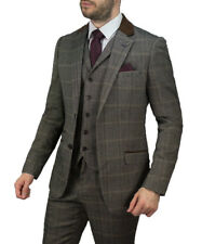 Cavani Mens 3 Piece Tweed Checkered Blazer Trousers Waistcoat Tailored Fit Suit