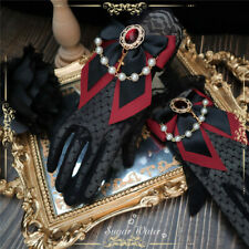 Gothic Women Black Lace Gloves with Bowkont Cross Lolita Girl Party Gloves