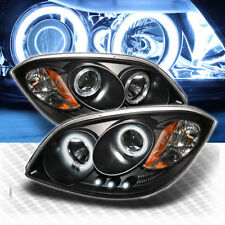 For CCFL Halo 05-10 Chevy Cobalt LED Projector Headlights Blk Head Lights Pair