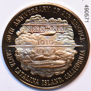 1969 Medal Proof Santa Catalina Island 50th Anniversry of Air Service 490571 c
