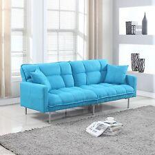 Modern Plush Tufted Linen Fabric Splitback Living Room Sleeper Futon Blue