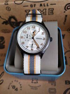 New Fossil Wylie Multi function Navy Beige gray orange Nylon Watch BQ2519