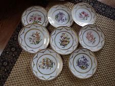 Antique Set Of 8 T& V Limoges Botanical Cabinet Plates Sold By Ovington Bros NY