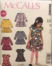 McCall's pattern m6982 Girl's Dropped Waist Bodice Dresses size 6, 7, 8