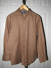 Polo Ralph Lauren Brown Houndstooth Flannel Shirt M Made in Italy Mens