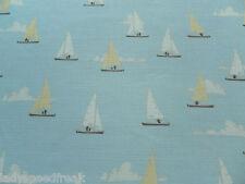Emily Burningham Curtain Fabric SAILBOATS 3.2m Powder Linen Union Design 320cm