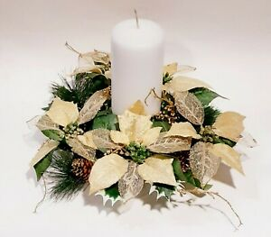 """Metallic Gold Poinsettia 14"""" Candle Ring Wreath 7"""" Opening Christmas Silk Flower"""