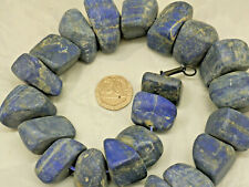 LARGE BLUE CHUNKY HEAVY NECKLACE CARVED FROM STONE MINERAL LAPIS LAZULI INTEREST