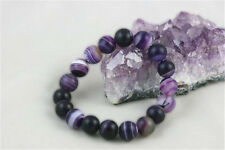 8mm Matte Purple Dream Fire Stripe Agate Gems Round Beads Stretchy Bracelet AA