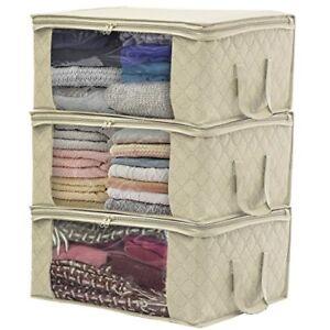 Sorbus Foldable Storage Bag Organizers (3 Pack, Beige)