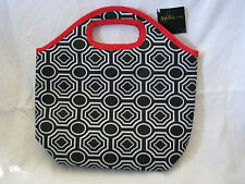 NEW Black, White & Red Insulated Zippered Lunch Bag/Tote 10-1/2