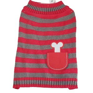 """Pet Pullover Sleeveless Knit Sweater Red & Gray with Pocket Small Dog 10"""""""
