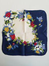 New listing Vintage Ladies Hankie Navy Blue Floral