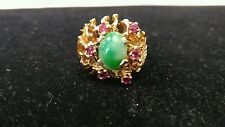 14k Gold Ring Size 8 With Rubies And Jade