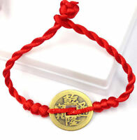 FD4600 Feng Shui Red String Lucky Coin Charm Bracelet for Good Luck & Wealth♫