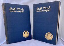 South Wind Norman Douglas 2 volume set w/ John Austen Art 1920 Argus ed. Capri