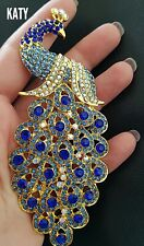Vintage Style Very LARGE Gold Diamante Peacock BROOCH Blue Crystal Broach Gift