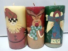 "Vtg unused Christmas Set of (3) 5-1/2"" Pillar wax Candle Santa, Reindeer, Angel"