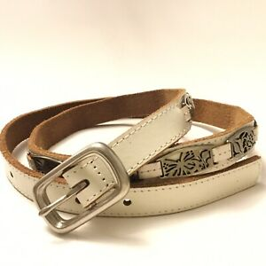 Fossil Belt S Small Beige Cream Leather Floral Inlay Studs Silver Buckle