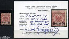DP Türkei 20 Pa. Adler 1890 lebhaftrosarot mit Plattenfehler Befund (S8037)