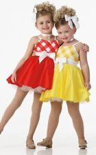 Picnic Dance Costume RED Tap Babydoll Checked Dress Clearance Child X-Small