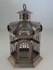 MEXICAN METAL DECORATIVE BIRD CAGE TIN FOLK ART 10X6 -1