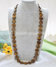"""100% Genuine Nature Big 32"""" 12mm coin yellow tiger's-eye necklace  JN2400"""