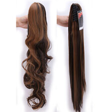 Clip on Claw Ponytail Clip in 100% Real Hair Extensions Natural As Human Hair P5