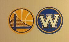 "Golden State Warriors FATHEAD Lot/2 Logos (Yellow Bridge & Blue W Both 11""x11"")"
