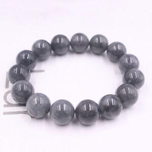 "Natural Gray Jade (Jadeite) Bracelet 13mmW Round Beads Link Chain Bracelet 6.7""L"