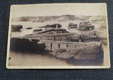 BIARRITZ  ancienne photographie rochers jetée  sur carton d'origine BERILLON