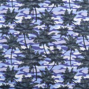 2m Designer Jersey Baumwollstoff Palmen Sommer Camouflage Tarndruck Shirt Kleid