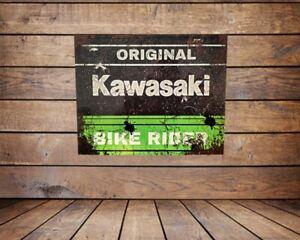 ORIGINAL KAWASAKI  BIKE RIDER , RUSTY EFFECT METAL SIGN /WALL ART,