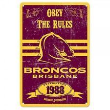 NRL Retro Supporter Tin Sign - Brisbane Broncos - Man Cave - Heritage