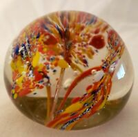 Vintage Hand blown Glass Paperweight  Multi Trumpet Flowers w/ Bubbles