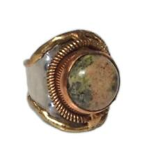 Welded Mixed Metal Cuff Ring, UNAKITE Semiprecious Stone, One Size, by Anju