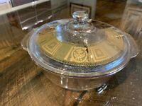 Vintage Fire King Rare Gold Fleck Casserole Dish with Lid 2 qt