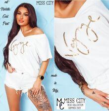 NEU 38 40 M-L Metallic Gold VOYAGE Print Shirt V-Ausschnitt MISS CITY Weiß Italy