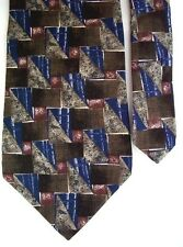 "Henry Grethel Men's Silk Novelty Neck Tie Brown Blue 4"" x 57"""