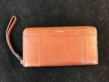 BNWT FOSSIL Jori Medium Brown Leather Zip Clutch Wristlet Purse  RFID RRP £75