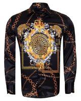 Men Oscar Banks Turkey Shirt Satin Italian Medallion Medusa Chain 6750-412 Black