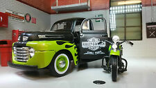 1948 Ford F1 Pickup Harley Davidson Panhead Motorcycle Diecast Model Car 1 24