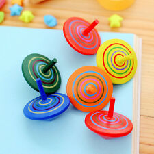 2X Wooden Gyro Spinning Top Peg-Top Cartoon Multicolor Kids Educational Toys Qw8