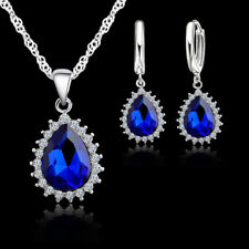 925 Sterling Silver Blue Crystal CZ Necklace and Earring Set & Velvet Pouch UK