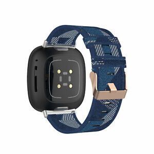 Replacement Canvas Nylon Watch Band Strap Wristband For Fitbit Versa 3 / Sense